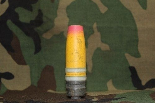 30mm Vulcan GAU-8 yellow/red HE projectile with single plastic driving band, short, Price Each