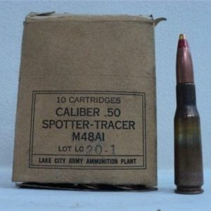 50 cal spotter tracer ammo, M-48-A1, 10 round box.
