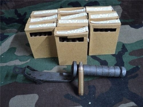 30-06 M1 Garand grenade launcher with 100 launch blanks.