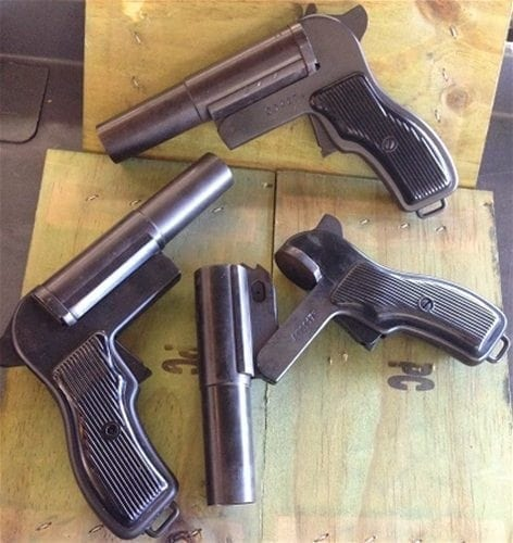 26.5 Polish Mfg. Flare Pistol. Excellent Condition. Made out of sturdy blued steel.